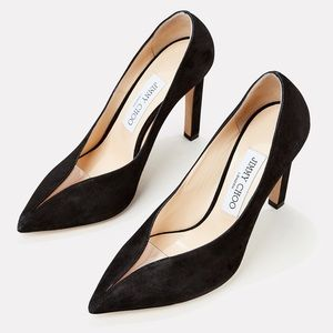 New Jimmy Choo Black Suede Baker Pumps Sz 40